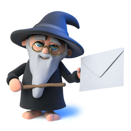 3d render of a funny cartoon wizard magician character points to an envelope with his magic wand Stock Photo