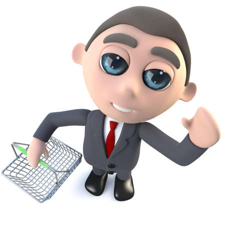 3d render of a funny cartoon executive businessman character holding a shopping basket Stockfoto
