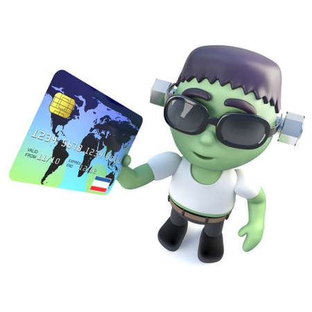 3d render of a funny cartoon frankenstein monster character holding a debit card