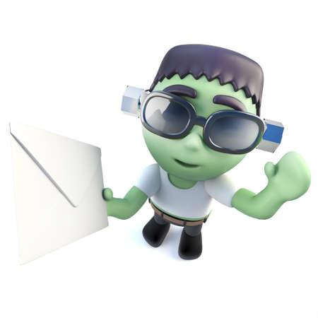 3d render of a funny cartoon frankenstein monster character holding an envelope