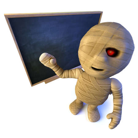 3d render of a funny cartoon Egyptian mummy monster character standing at a blackboard