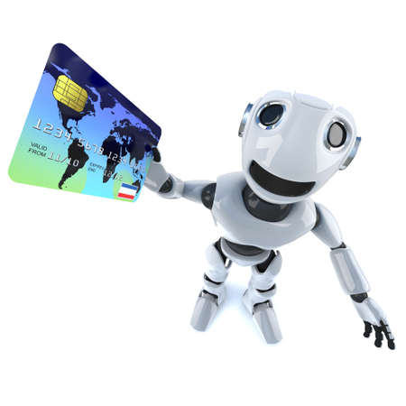 3d render of a funny cartoon mechanical robot character paying with a debit card