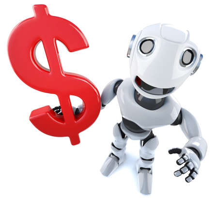3d render of a funny cartoon mechanical robot character holding a US Dollar currency symbol Stock Photo
