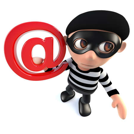 3d render of a funny cartoon burglar thief character holding an email address symbol Stock Photo