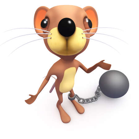 3d render of a funny cartoon funny mouse character with a ball and chain