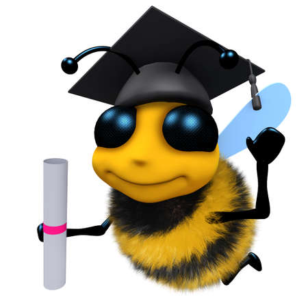 3d render of a funny cartoon honey bee character wearing a mortar board and holding a diploma