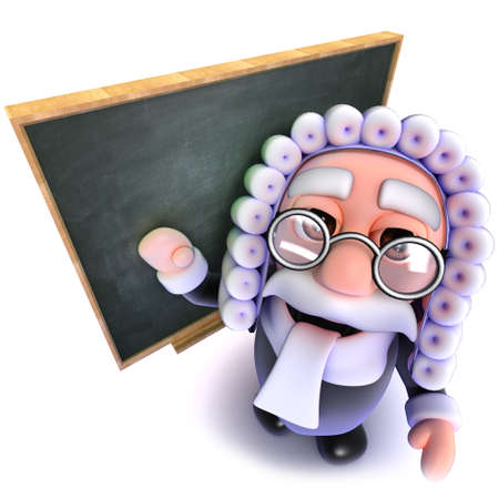 3d render of a funny cartoon judge character standing in front of a blackboard Stock Photo