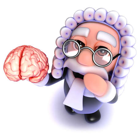 3d render of a funny cartoon judge character holding a human brain