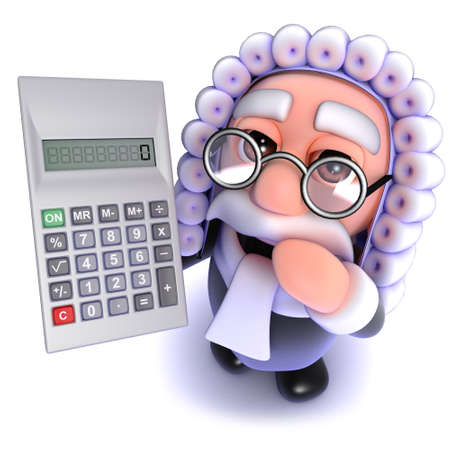 3d render of a funny cartoon judge character holding a calculator
