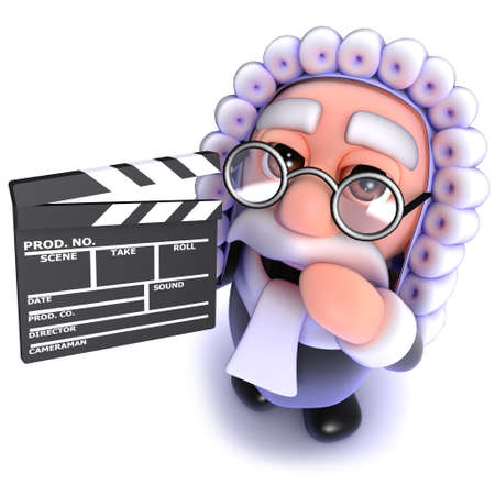 3d render of a funny cartoon judge character holding a movie makers clapperboard