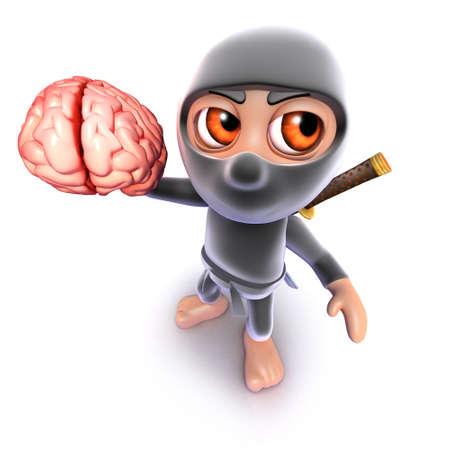 3d render of a funny cartoon ninja assassin warrior holding a human brain Stock Photo