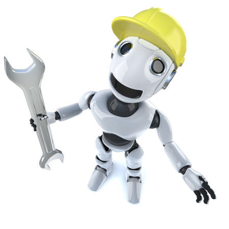 3d render of a funny cartoon robot character holding a spanner and wearing a hard hat