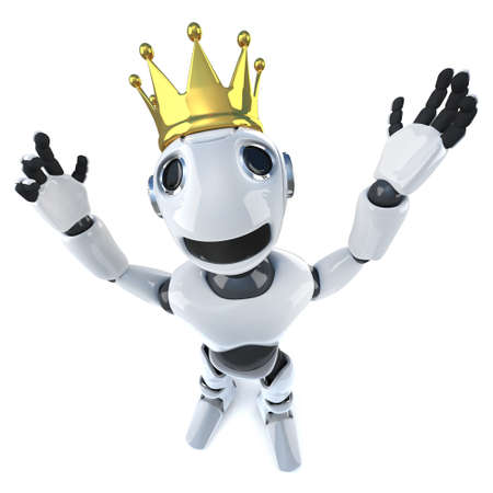 3d render of a funny cartoon robot character wearing a royal gold crown of success