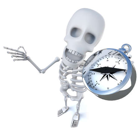 3d render of a funny cartoon spooky skeleton character navigating with a magnetic compass Stock Photo