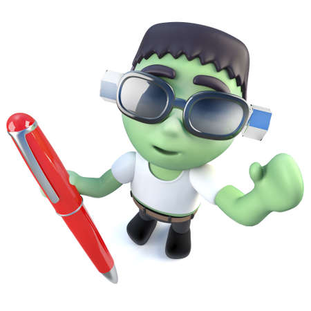 3d render of a funny cartoon frankenstein monster character writing with a pen