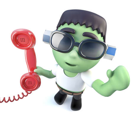 3d render of a funny cartoon frankenstein monster character answering the phone