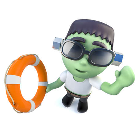 3d render of a funny cartoon frankenstein monster character holding a life ring