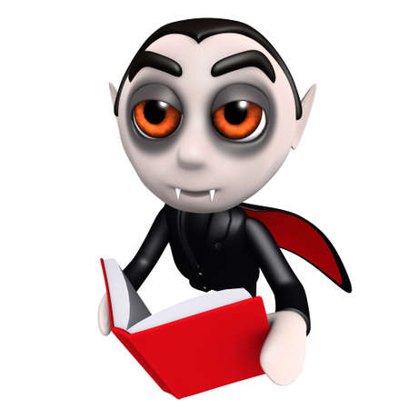 3d render of a funny cartoon dracula vampire character reading a book while flying Stock Photo