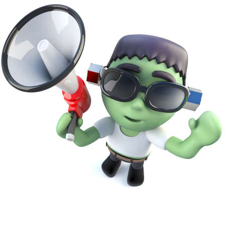 3d render of a funny cartoon frankenstein monster character using a megaphone Stock Photo