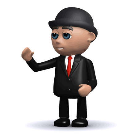 3d render of a funny cartoon businessman character waves hello