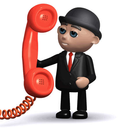 3d render of a funny cartoon businessman character holding a phone handset Stock Illustratie