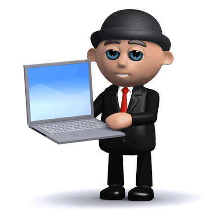 3d render of a funny cartoon businessman character holding a laptop pc computer device Stock Illustratie