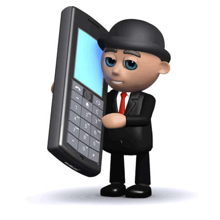 3d render of a funny cartoon businessman character using a mobile phone