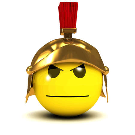 3d render of a smiley looking serious dressed as a Roman soldier Illustration