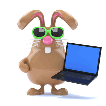 3d render of Easter Bunny holding a laptop