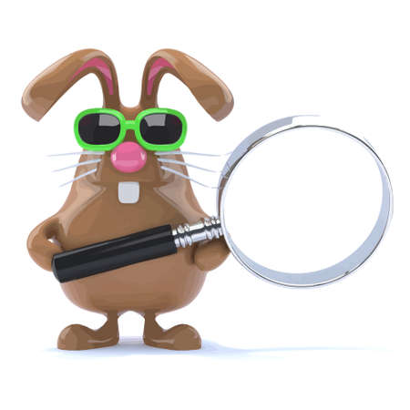 3d render of a rabbit holding his magnifying glass
