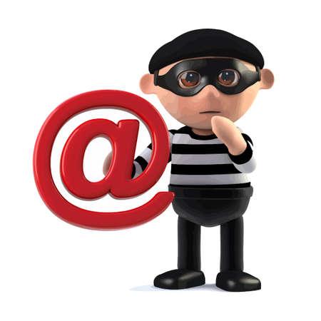 3d render of a burglar cartoon character holding an email address symbol.