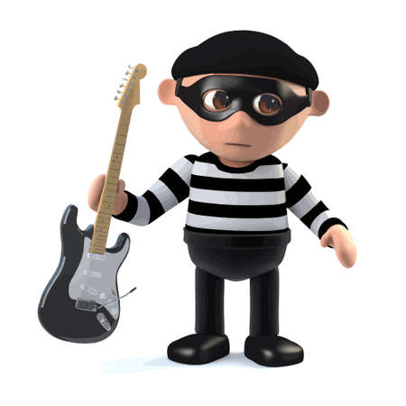 3d render of a burglar holding an electric guitar. Illustration
