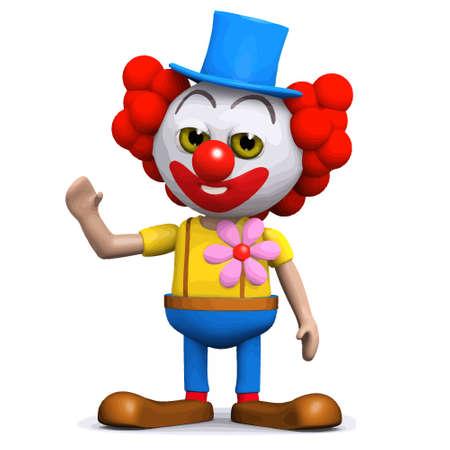 3d render of a clown waving hello Illustration