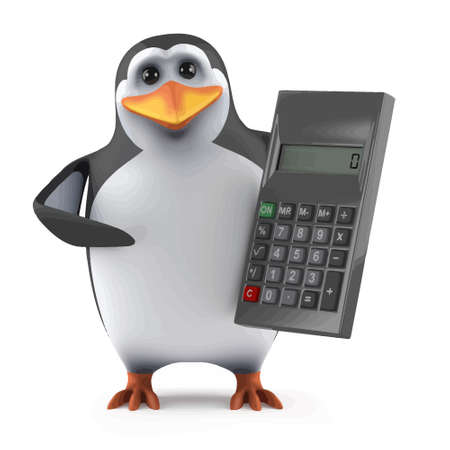 3d render of a penguin with a calculator