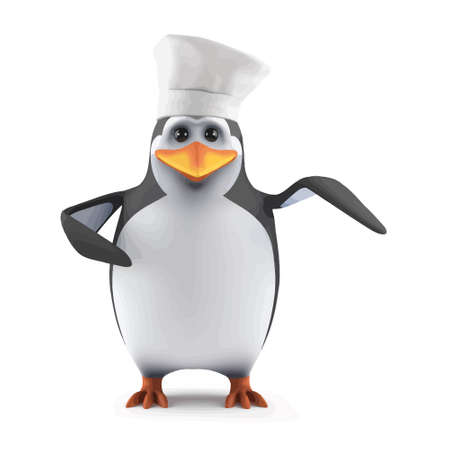 3d render of a penguin dressed as a chef