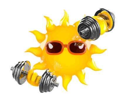 3d render of the sun lifting weights