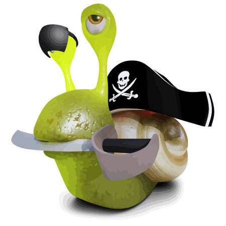 3d render of a funny cartoon snail character wearing a pirates hat and eyepatch