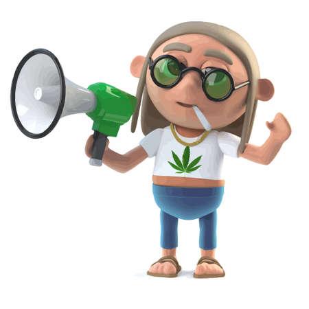 3d render of a hippy stoner holding a megaphone