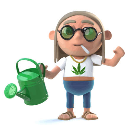 3d render of a hippie stoner with a watering can.