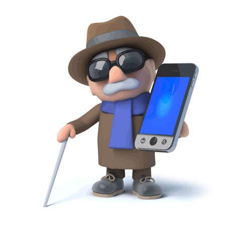 3d render of a blind man holding a smartphone Illustration