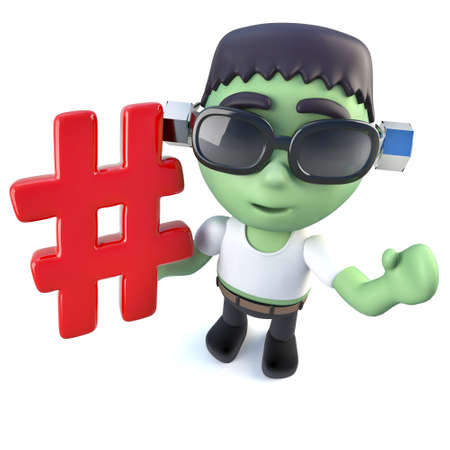 3d render of a funny cartoon frankenstein monster character holding a hashtag symbol Stock Photo