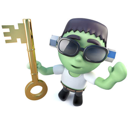 3d render of a funny cartoon frankenstein monster character holding a gold key