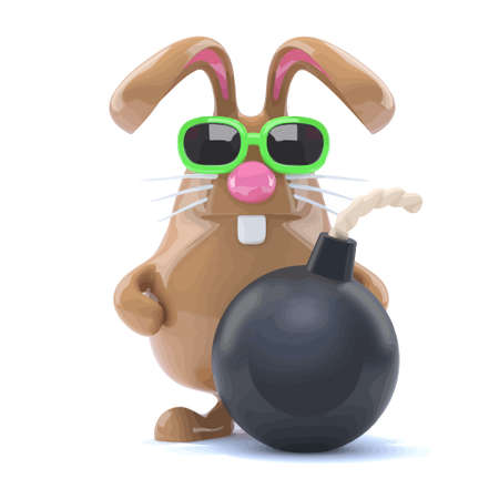 3d render of a rabbit with a bomb Illustration