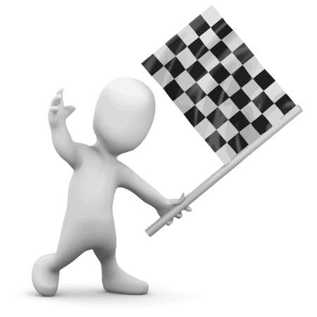 3d render of a little person waving the checkered flag