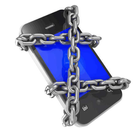 3d render of a smartphone locked in chains Illustration