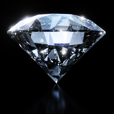Shiny diamond isolated on black background  photo