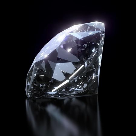 Glanzende diamant geïsoleerd op zwarte achtergrond