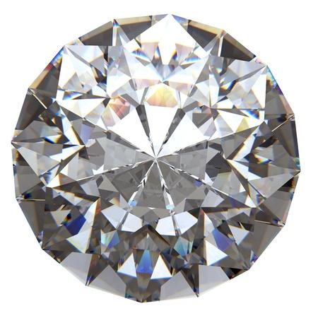 Ronde diamant van bovenzijde geïsoleerd op witte achtergrond Stockfoto