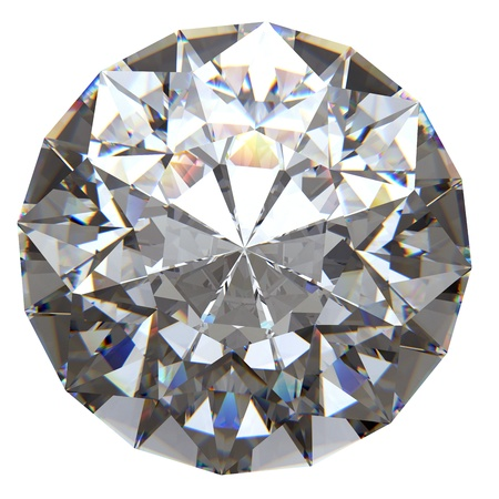 Ronde diamant van bovenzijde geïsoleerd op witte achtergrond Stockfoto - 15661093
