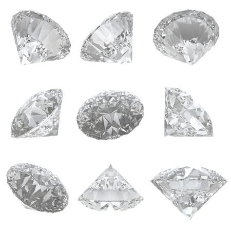 9 diamanten set geà ¯ soleerd op witte achtergrond Stockfoto - 15661080